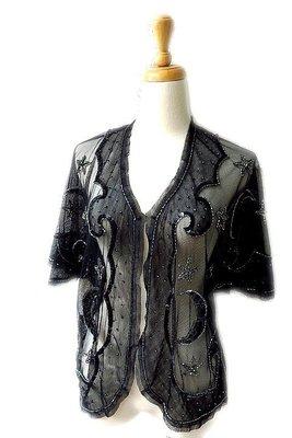 *Beauty*ANNA SUI星星月亮黑色網紗釘珠短袖外套 PS 12900元WE18 原價3萬
