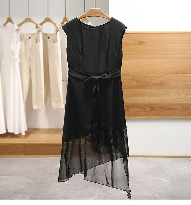【木風小舖】不規則裙擺 下網紗拼接綁帶洋裝*黑