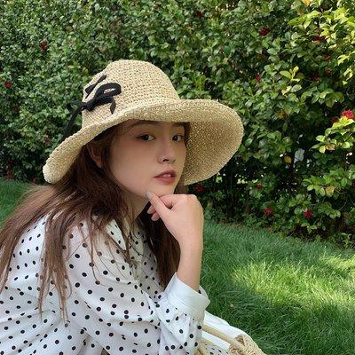 夏季必備 帽子 可折疊休閑百搭草帽子女度假沙灘大檐帽遮陽帽夏季太陽帽