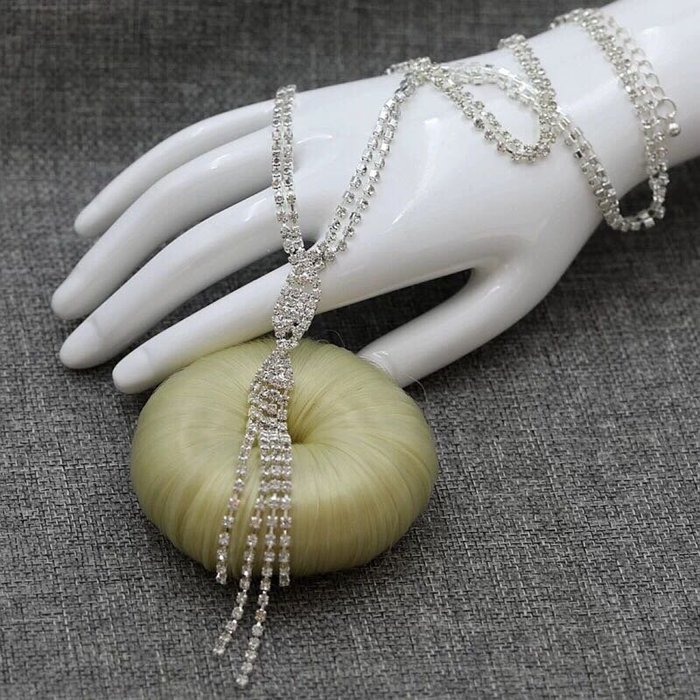 外銷歐美飾品💃特價閃亮水鑽項鍊女銀色寶石頸鏈流蘇吊墜潮流鎖骨鏈日韓百搭飾品