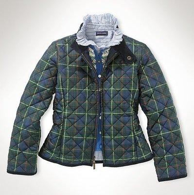 (((二手特價))) 美國 RALPH LAUREN POLO 深藍繡馬蘇格蘭紋立領鋪棉外套 M(8/10)