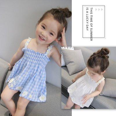 【溜。溜。選物】春季新款女童小清新可愛吊帶格子小花連衣裙可愛公主裙