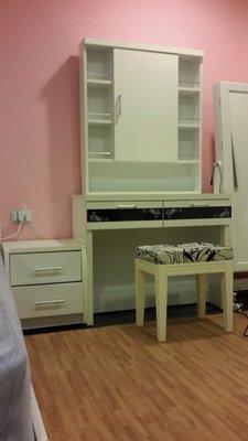 梳妝台化妝台兩抽附椅隱藏式鏡櫃可開闔大收納韓風時尚