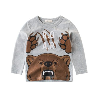 🚛NO.108童衣著【現貨】男童100~140cm純棉 憤怒的熊童趣灰色長袖上衣 圓領打底衫