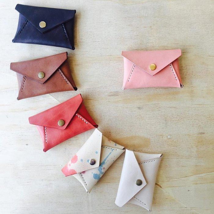 粉紅 信封型零錢包 畢業禮物 隨身碟收納 嗅皮手作