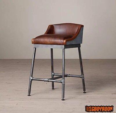 【BIgBoyRoom】工業風家具 餐椅吧台椅書桌椅 鐵製靠背坐墊 LOFT法式復古椅子北歐 客製化 大廳民宿餐廳規劃