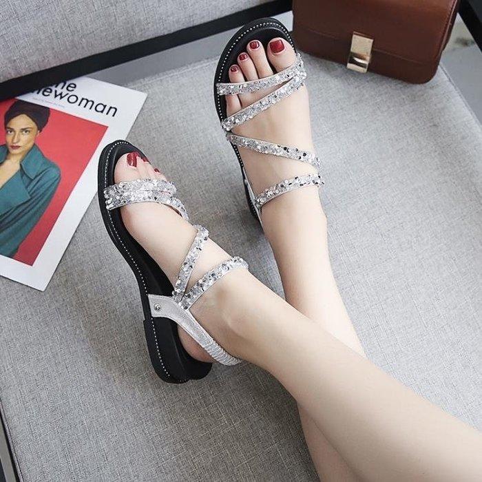 半島鐵盒 羅馬涼鞋 韓版百搭羅馬鞋時尚休閒露趾平底沙灘鞋
