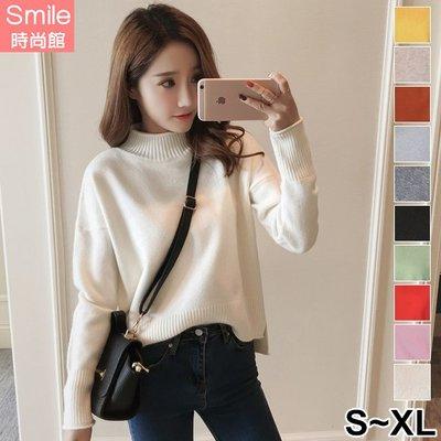 【V9119】SMILE-秋光真實‧舒適高領捲邊毛衣針織長袖上衣