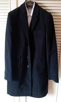 ※專櫃購買真品※【CLUB MONACO 】 帥氣深黑厚棉單排牛角扣絲緞內裡過膝長大衣