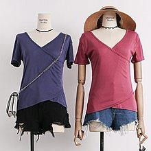 2018夏裝新款交叉V領不規則短袖T恤女純色前短后長學生上衣打底衫