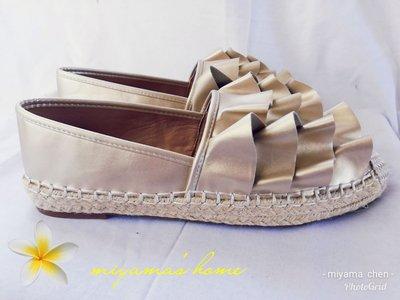 Something Borrowed金色荷葉層平底包鞋25號(SW0006)