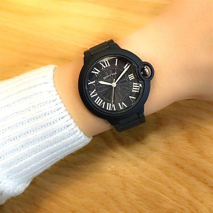 SFNY 新款 時尚個性鈕扣隱藏式消光色設計羅馬數字鋼帶女石英錶【S & C】