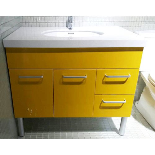 MIT台製櫃身 白色下崁盆+黃色門板+台製龍頭 台中工廠 量身訂做 款式尺寸顏色均可挑選