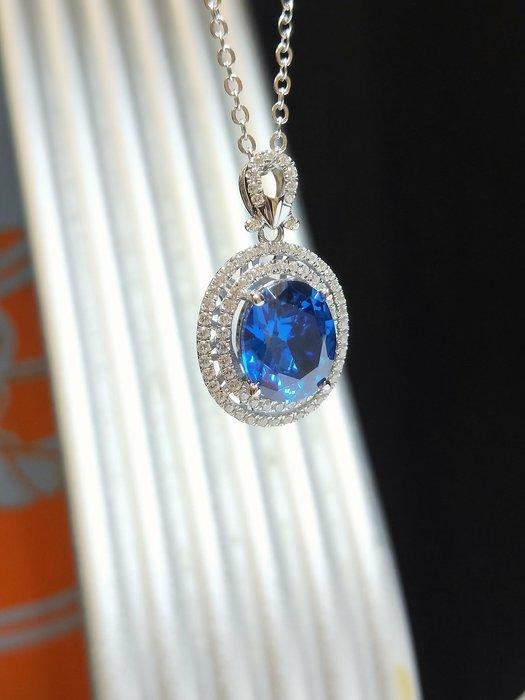 藍寶石鑽石項鍊墜子鑽飾歐美專櫃純銀項鍊 高檔微鑲飾品 5克拉高碳鑽石精工定制鉑金18K 高碳仿真鑽石 莫桑鑽寶媲美真鑽鉑金質感