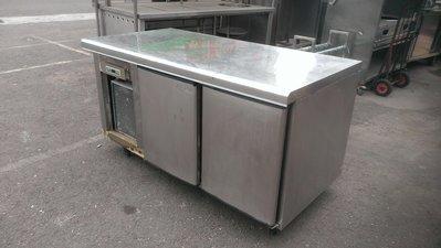 大台南冠均二手貨--304# 全冷藏 5尺 營業用工作台冰箱 料理台冰箱 營業用冷藏冰箱 液晶面板 220V *餐飲設備