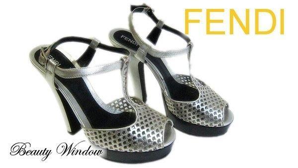 *Beauty* FENDI銀色高跟美鞋 JE 36.5號