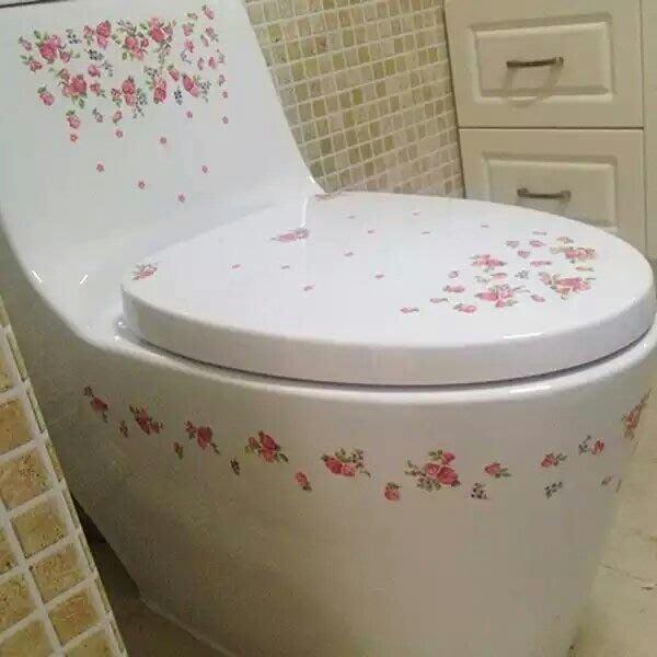 粉紅玫瑰精品屋~韓國浪漫玫瑰浴室瓷磚馬桶貼  家居裝飾~