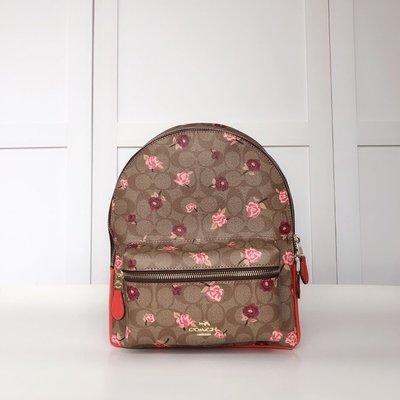 小皮美國正品代購 COACH 66881 新款女士中號雙肩包 經典C字底紋花朵印花圖案後背包 附購證