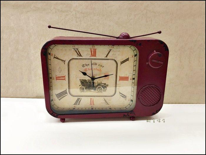 鐵製紅色收音機桌鐘  美式鄉村工業風LOFT 復古仿舊鐵藝電視機天線座鐘時鐘 模型拍照道具【歐舍傢居】