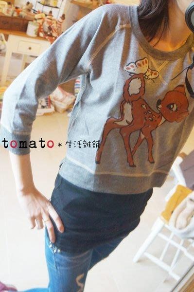 ˙TOMATO生活雜鋪˙韓國進口雜貨蝴蝶梅花鹿貼布側開衩短版棉T
