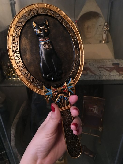 埃及 神貓 手拿鏡,手工描金 隨身鏡@$1280