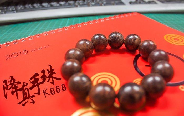 沉水佛珠【和義沉香】《編號K888》降真佛珠 原木降真念珠 降真手珠16mm*15顆一串 打坐修行必備 結緣價$3200