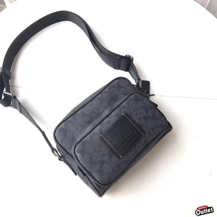 【全球購.COM】COACH 69689 2019款 男士雙拉鍊相機包 單肩包黑  美國代購