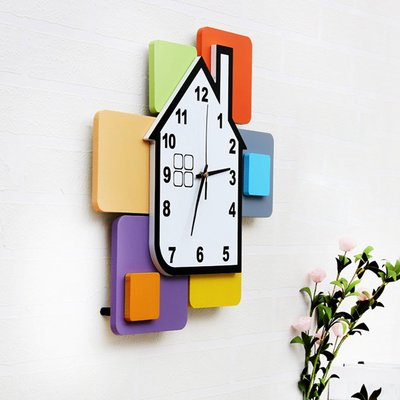 2017~掛鐘時尚創意靜音時鐘兒童房靜音卡通鐘錶現代彩色積木裝飾QDSC-16953