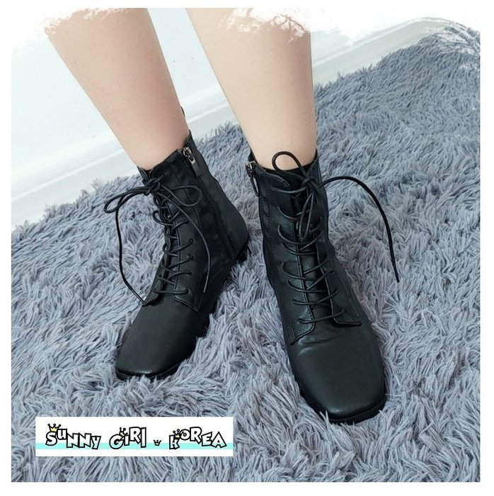 正韓馬丁靴*Sunny Girl*韓國代購方頭側拉鏈復古個性短靴女靴 2019九月新款 - [WH1352]