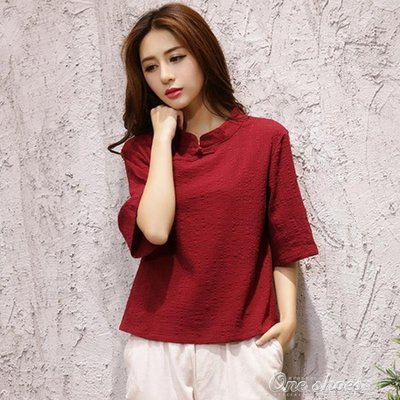 ZIHOPE 夏裝民族風女裝復古文藝純色立領寬鬆短袖T恤棉麻茶服上衣女ZI812