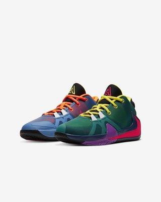 保證正品 九成新 NIKE FREAK 1 1/2 (GS) 希臘字母哥 大童籃球鞋 (US6.5號)CU1486800