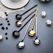 北歐 霧面 亮面 咖啡勺 304不鏽鋼 攪拌勺 甜點勺 小勺 餐具 黑色 玫瑰金 金色【ZACH & VIVI 窩窩宅】