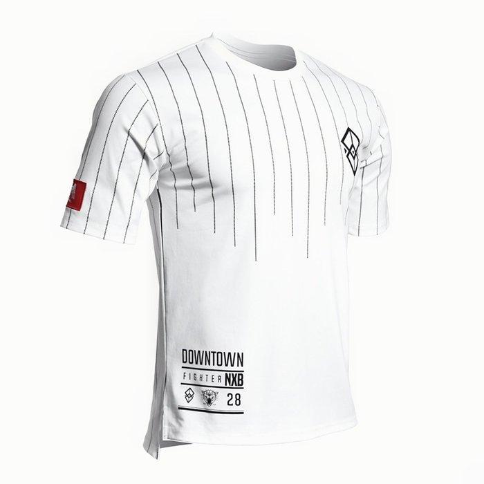 【OTOKO Men's Boutique】固制:有種部隊條紋厚磅寬鬆版短袖/白色(台灣獨家代理)