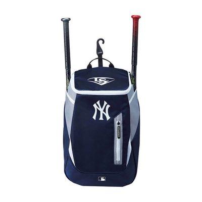 ((綠野運動廠))最新LS GENUINE MLB NY洋基~二支裝棒壘裝備袋後背包前置物小袋,後方掛勾可吊掛~後背軟墊