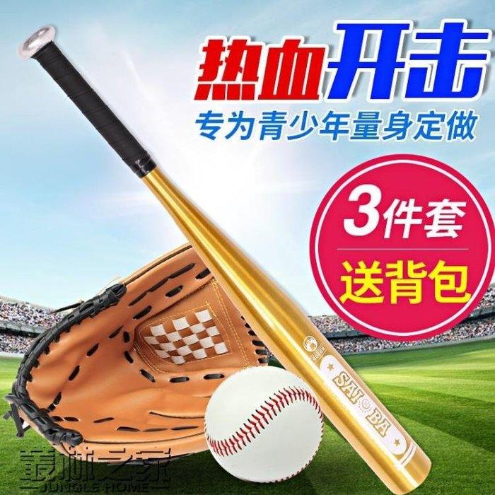 青少年兒童棒球套裝壘球實木鋁合金棒球棒棒球棍 手套 棒球三件套