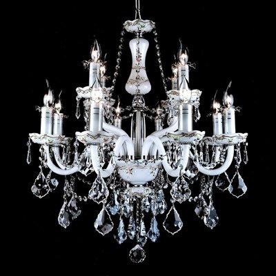 埃及奧地利水晶管內白-白花碟楓葉蜻蜓水晶燈E14-12燈(水藍色)TA95058
