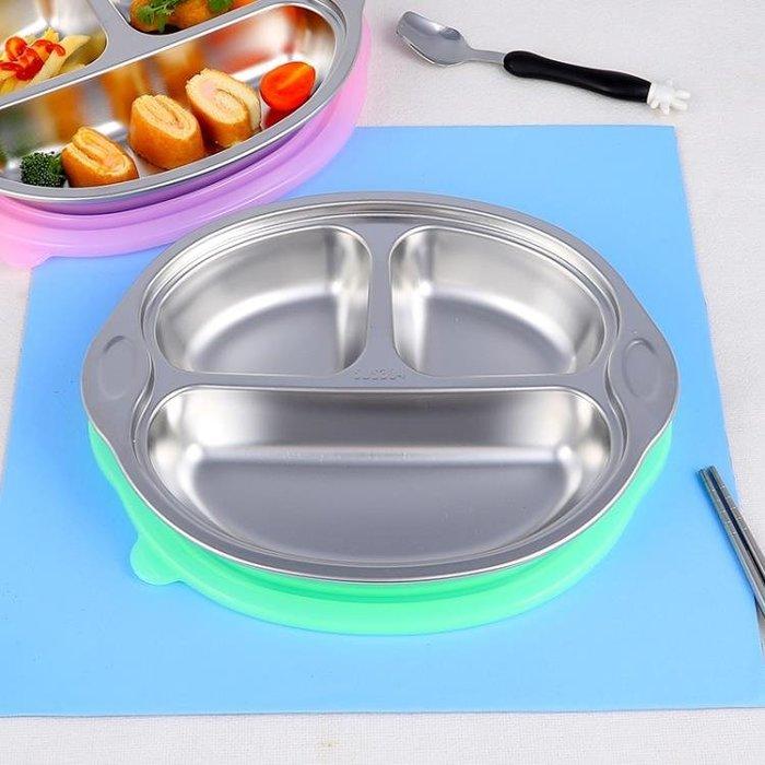 304不銹鋼兒童餐盤分格餐盒加深快餐具碗幼兒園卡通學生寶寶