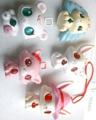 **M8-16** (裸裝無盒)麥當勞Sanrio/Seagate Toys外星尖耳狗塑膠玩偶5隻合售/表面有使用痕跡,