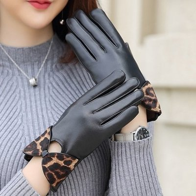真皮手套 保暖手套-羊皮加絨豹紋蝴蝶結女手套73wm57[獨家進口][米蘭精品]