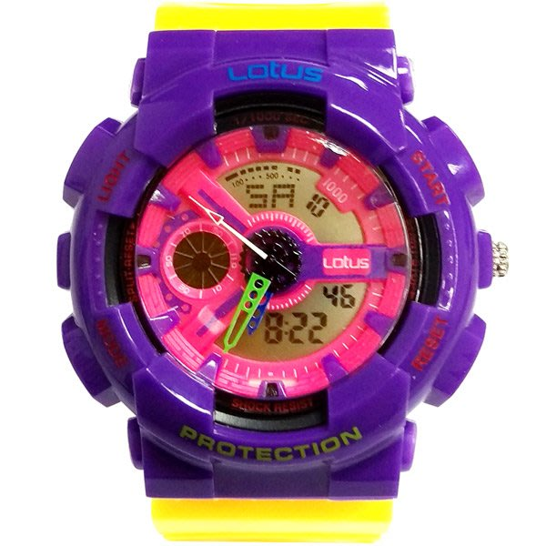 Lotus 街頭樂高撞色變形金剛 計時鬧鈴雙顯運動錶(LS-1026-07)-/52mm
