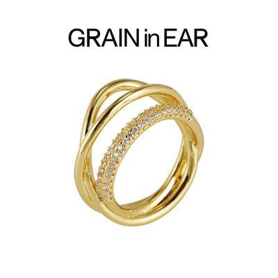 SC STORE~GRAIN in EAR 設計師法式 小眾設計 層次感天然鋯石18k金 戒指女