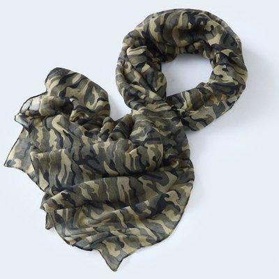 【Lady Luck服飾】軍綠色迷彩圍巾男士中性圍巾 戶外系列圍巾 棉麻薄款超大春夏季