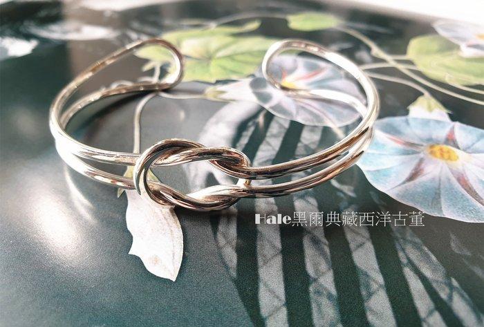 黑爾典藏西洋古董~純銀 925銀雙條流線一體成型鏤空半開純銀手環~美國品牌時尚走秀雜誌