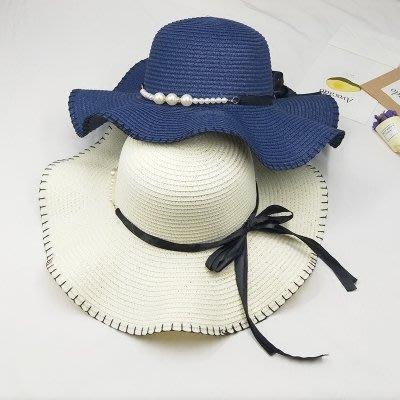 沙灘帽  帽子女海邊可折疊太陽帽防曬遮陽沙灘帽優雅珍珠綁帶木耳邊草帽