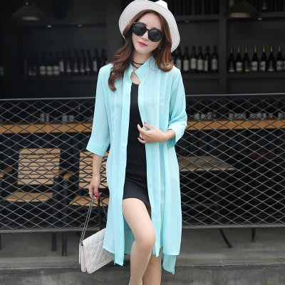 東大門平價鋪   新款韓版中長款沙灘防曬衣,女夏季防紫外線開衫大碼雪紡薄外套