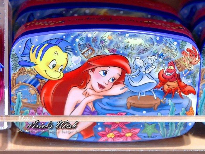 Ariel's Wish日本東京迪士尼小美人魚愛麗兒公主彈珠汽水糖果鐵盒組髮飾品盒髮夾收納盒隨身攜帶飾品盒子-現貨*1