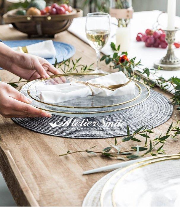 [ Atelier Smile ] 鄉村雜貨 北歐風 INS金邊玻璃沙拉餐盤 甜點碗 # 七件套組 可單售  (現+預)
