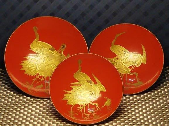 金鶴漆器清酒杯(三杯)