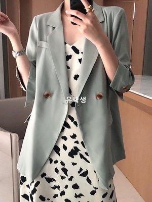 유학생 2019夏季薄款chic小西裝女網紅韓版顯瘦百搭7分袖防曬西服外套潮