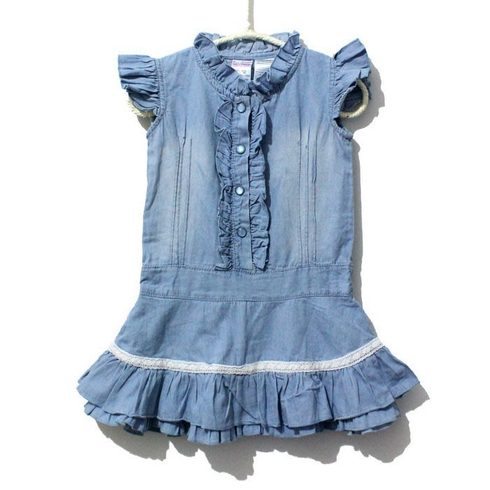 韓版《牛仔花邊款》無袖長上衣 洋裝(J2-2)